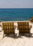 Pair of Chairs on Beach Resort Royalty Free Stock Image