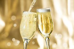 Pair of champagne flutes. Making a toast Stock Image