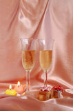 Pair of champagne flutes Stock Photo