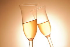 Pair of champagne flutes Royalty Free Stock Images