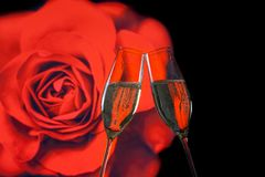 A pair of champagne flutes with golden bubbles on blur red rose background. A pair of champagne flutes with golden bubbles make cheers on blur red rose Stock Photos