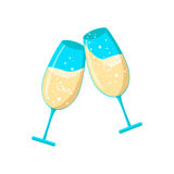 Pair champagne glasses, set of sketch style vector illustration Royalty Free Stock Photography