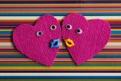 Pair of cheerful hearts. Royalty Free Stock Photos