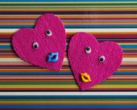 Pair of cheerful hearts. Royalty Free Stock Image