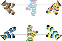 Pair cheerful striped socks. All is grouped Stock Images