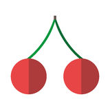 Pair of cherries isolated. Pair of red ripe cherries with green twig isolated on white background. Flat design. Vector illustration. EPS 8, no transparency Royalty Free Stock Photo