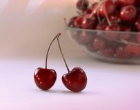 Pair of cherries stock photos