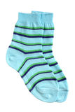 Pair of child's striped socks Royalty Free Stock Images