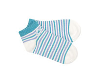 Pair of child's striped socks isolated on a white Royalty Free Stock Image
