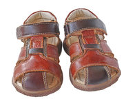 Pair of child's summer sandals Royalty Free Stock Photos