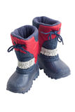 Pair of child's winter boots with rubber sole Stock Photos