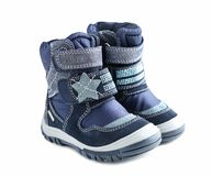 Free Pair Child`s Winter Shoes Isolated. Royalty Free Stock Image - 123406056