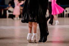 Pair children athletes dancers. On her toes dance flooring Stock Photo