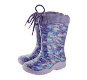 Pair children colored rubber boots Royalty Free Stock Image