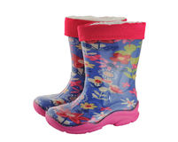 Pair children colored rubber waterproof boots Royalty Free Stock Photography