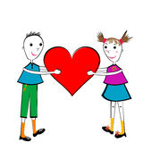 Pair of children holding a heart Stock Images