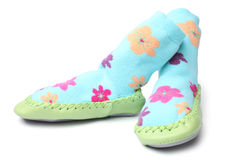 Pair of children's bootees. On white background Royalty Free Stock Photography