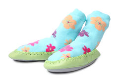Pair of children's bootees. On white background Stock Photos