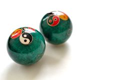 A pair of Chinese anti-stress balls. On white background Stock Photos