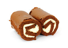 Pair Chocolate and Cream Filled Rolls Stock Image