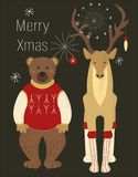 A pair of Christmas animals in costumes on black background with. Text. Deer in socks and with decoration on the horns and bear in a red sweater. Vector royalty free illustration