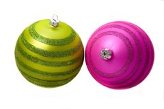 Pair of christmas baubles Royalty Free Stock Photos