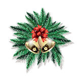 Pair of Christmas bells and fir tree branches isolated on white background. Vector illustration Stock Photo