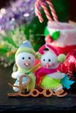 Pair of christmas snowmans with word Love near them. Pair of christmas snowmans with word Love near them Stock Photography