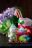 Pair of christmas snowmans with word Love near them. Pair of christmas snowmans with word Love near them Royalty Free Stock Photos