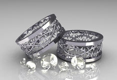 Pair of Christs Crown White Gold Wedding Bands. With Sets of White Diamonds - 3D Stock Photo