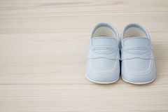 Pair of  Classic Blue Baby Shoes Royalty Free Stock Photography