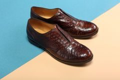 Pair of classic leather shoes. Pair of classic brown leather shoes Royalty Free Stock Photography