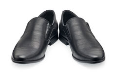 A pair of classical black leather shoes for men, without shoelace Stock Images
