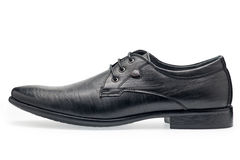 A pair of classical black leather shoes for men, with shoelaces Stock Photo