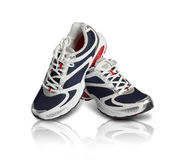 A pair of classy sports shoes. In blue and red color Royalty Free Stock Image
