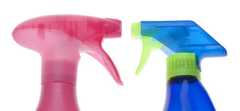 Pair of Cleaning Spray Bottles Stock Photo