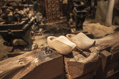 Pair of clogs made of poplar wood Stock Images