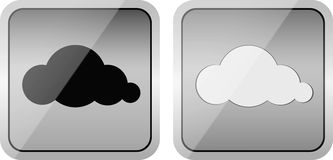 Pair of Cloud glossy icons. Pair of cloud computing glossy buttons with white and black clouds vector illustration