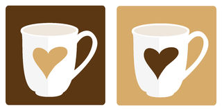 Pair of coffee mugs. Hot coffee cups with hearts on colored background royalty free illustration