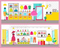 Pair of Colorful Cards with Bright Clothes Shops. Vector illustration pink frames, racks and bags, pairs of shoes, perfumes and jewelry, cute dresses Stock Images
