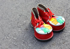 A pair of colorful clown shoes Royalty Free Stock Photos