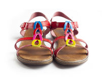 Pair of colorful female sandals Royalty Free Stock Images