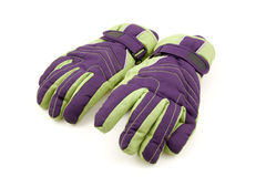 Pair of colorful ski gloves Royalty Free Stock Image