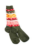 Pair of colorful socks. Over a white royalty free stock photography