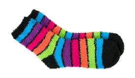 Pair of colorful thick fleece socks Royalty Free Stock Photo