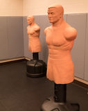 Pair of Combat Training Dummies. Two combat training dummies on their stands stock photos