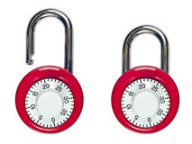 Pair of Combination Locks Locked and Unlocked Royalty Free Stock Image