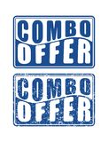 Pair of Combo offer blue square rubber stamps in grunge and soli Royalty Free Stock Photo