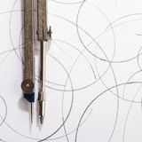 Pair of compasses drawing Royalty Free Stock Image