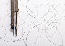Pair of compasses drawing Stock Photos